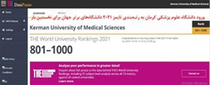 ورود دانشگاه علوم پزشکی کرمان به رتبهبندی تایمز 2021 دانشگاههای برتر جهان